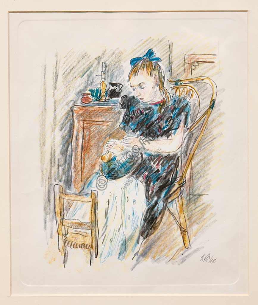 """Assicoop - Unipol Collection: Mario Vellani Marchi (1895 - 1979), """"Sitting Girl working on a Pillow"""", Watercoloured engraving."""