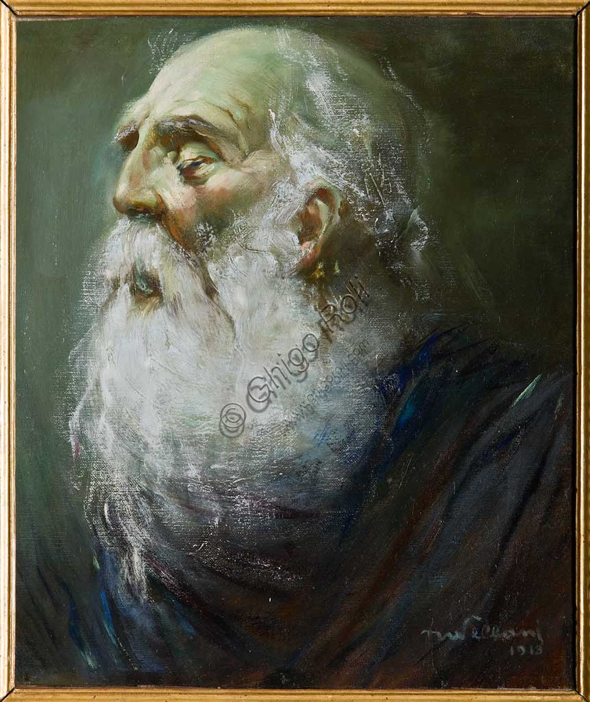 """Assicoop - Unipol Collection: Mario Vellani Marchi (1895 - 1979),Study for """"Aymone leading blind Oedipus"""". Oil painting on cardboard."""