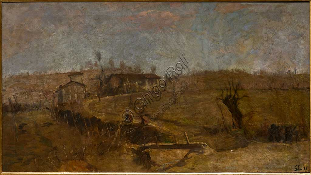 "Assicoop - Unipol Collection:  Giuseppe Graziosi  (1879-1942),  ""Landscape of Savignano""; oil on canvas."