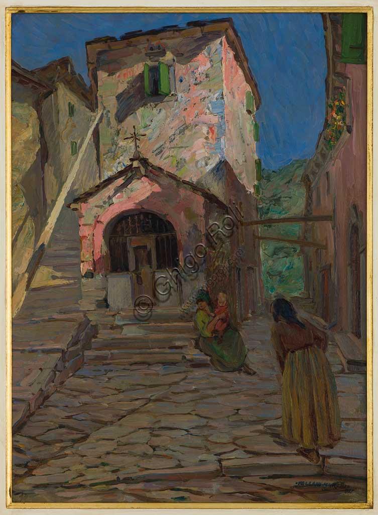 """Assicoop - Unipol Collection: Mario Vellani Marchi (1895 - 1979), """"Santuario di Fiumalbo""""; oil on cardboard."""