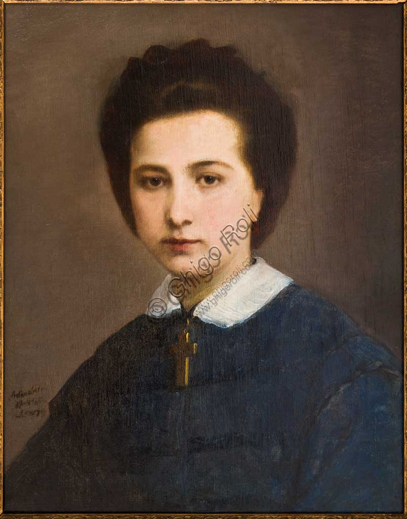 "Assicoop - Unipol Collection:Adeodato Malatesta (1806 - 1891); ""Portrait of Woman"" (Family Ghirelli); oil on canvas, cm. 50 x 40."