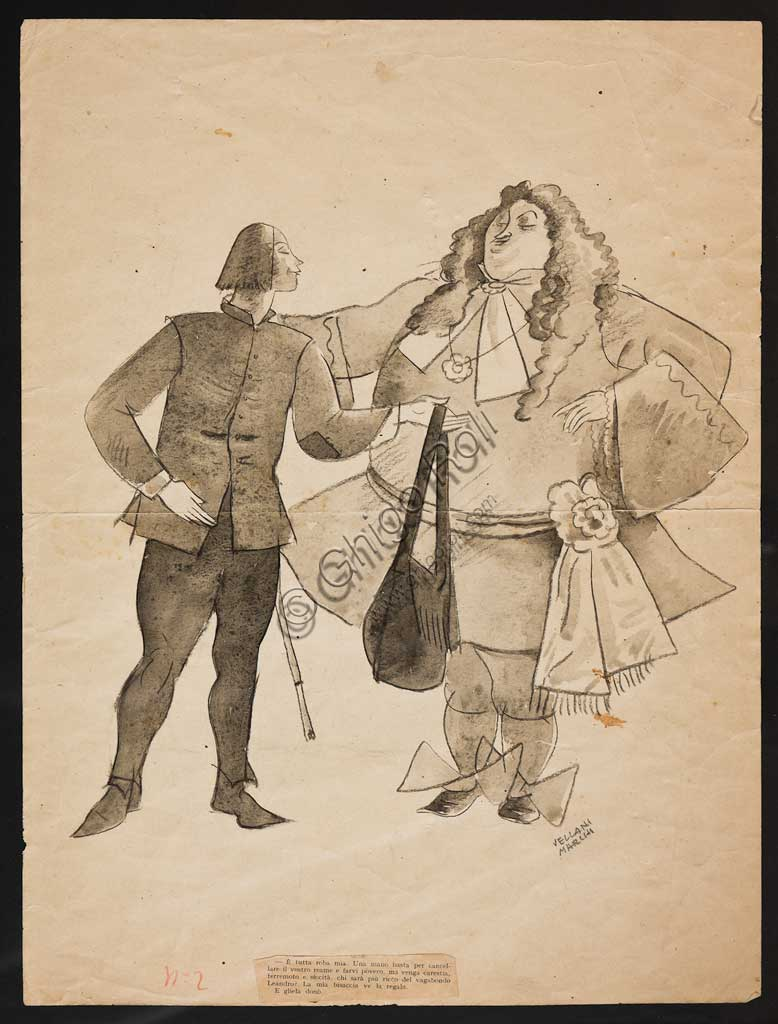 "Assicoop - Unipol Collection: Mario Vellani Marchi (1895 - 1979); ""Caricature"" ; charcoal, cm. 40 x 30."