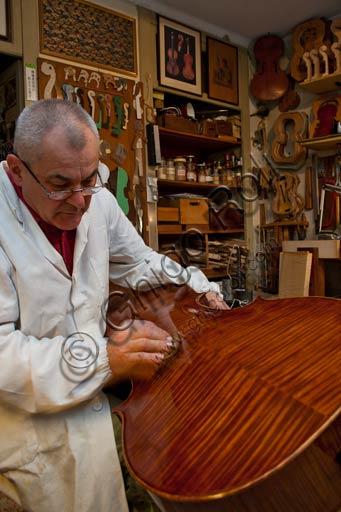 Cremona, bottega di liutaio: Laboratorio di Stefano Conia. Nella foto, Stefano Conia il vecchio.