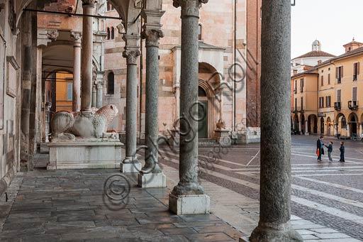 "Cremona: the Duomo (Cathedral) porch, known as ""The Bertazzola"", by Lorenzo Trotti and the Piazza del Comune."