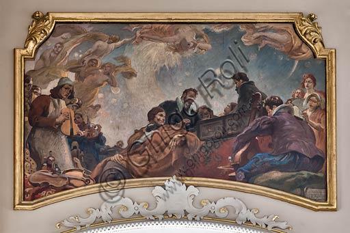 """Cremona, Palazzo del Comune (Town Hall Palace), Sala della Consulta (the Consulta Room):""""Musicians and  Luthiers"""" (Stradivari, Ponchielli and Monteverdi) , by Antonio Rizzi."""