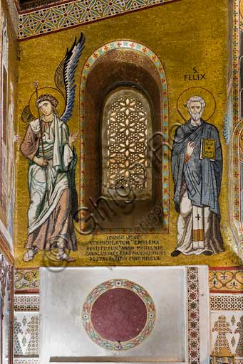 Palermo, Palazzo Reale o Palazzo dei Normanni,  Cappella Palatina (Basilica), parete nord: mosaico che rappresenta San Felice e un angelo (XII secolo).