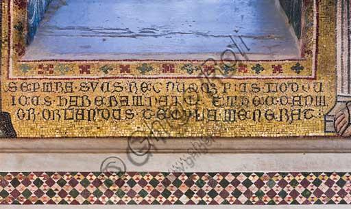 Palermo, Palazzo Reale o Palazzo dei Normanni,  Cappella Palatina (Basilica): dettaglio di mosaico con scritta.