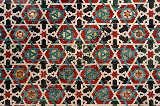 Palermo, Palazzo Reale o Palazzo dei Normanni,  Cappella Palatina (Basilica), il pavimento: particolare con motivi geometrici.