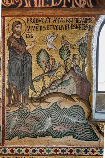 """Palermo, Palazzo Reale o Palazzo dei Normanni,  Cappella Palatina (Basilica), ciclo di mosaici Vecchio Testamento, ciclo della Creazione: """"Creazione dei pesci e degli uccelli"""", XII secolo."""