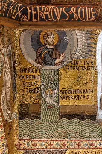 """Palermo, Palazzo Reale o Palazzo dei Normanni,  Cappella Palatina (Basilica), ciclo di mosaici Vecchio Testamento, ciclo della Creazione: """"Fiat Lux, Dio crea la luce e separa le acque"""", XII secolo."""
