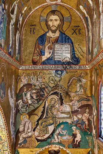 "Palermo, Palazzo Reale o Palazzo dei Normanni,  Cappella Palatina (Basilica), abside meridionale o absidiola di San Paolo, mosaici: ""Cristo Pantocrator"" e ""Natività"", secolo XII."