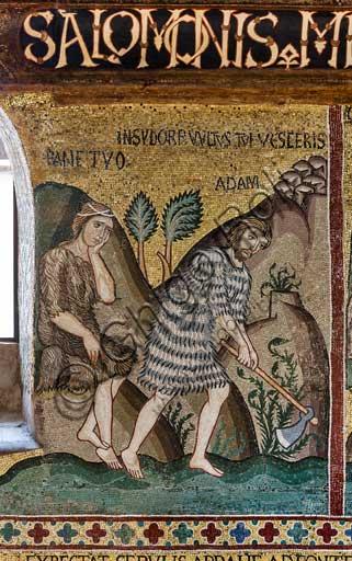 """Palermo, Palazzo Reale o Palazzo dei Normanni,  Cappella Palatina (Basilica), ciclo di mosaici Vecchio Testamento, ciclo della Creazione:  """"Il peccato originale: il dolore di Eva e la fatica di Adamo"""", XII secolo."""