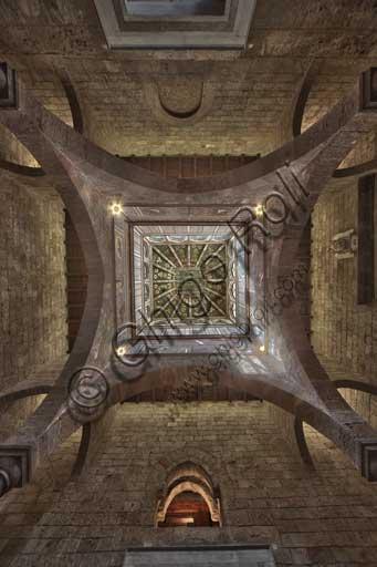 Palermo, Palazzo Reale o Palazzo dei Normanni, Torre Joharia, Sala dei Venti: cuspide lignea con al centro la Rosa dei Venti. Veduta zenitale.