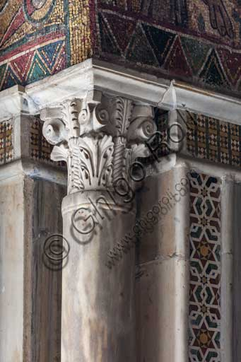 Palermo, The Royal Palace or Palazzo dei Normanni (Palace of the Normans), Pisana Tower,  the King Roger Room (the Room which was commissioned by King Roger II d'Altavilla): detail with an angular column.