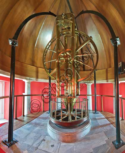 "Palermo, The Royal Palace or Palazzo dei Normanni (Palace of the Normans), the Pisana Tower, The Astronomical Observatory ""Giuseppe Piazzi"" : the room with the Circle manufactured by Jesse Ramsden. The 5-foot diameter Palermo circle manufactured by Jesse Ramsden was made to measure apparent positions of astronomical objects."