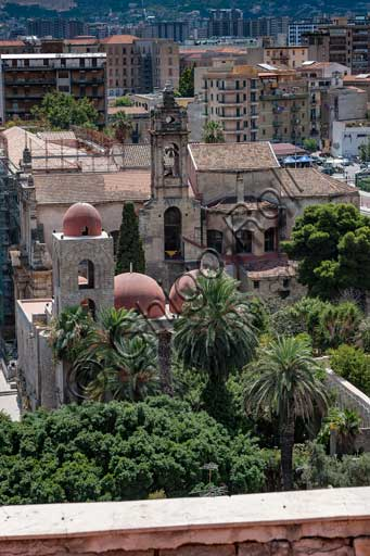 Palermo: view of the town from the Porta Nuova Tower. At the centre, the S. John of Hermits Church.