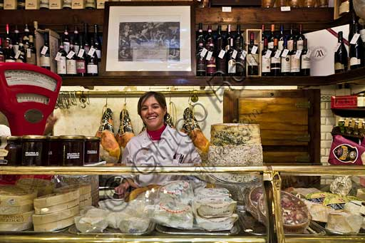 "Modena, Historical shop ""Salumeria Giusti"" (Delicatessen), in Farini street:  Cecilia Morandi who runs the shop with her mother Laura e her brother Matteo."