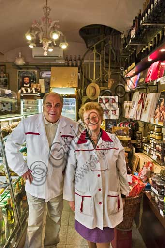 "Modena, Historical shop ""Antica Pasticceria San Biagio"" (old pastry shop), in Emilia Centro road: the owners, Gianpiero Ronchi and his wife Iolanda."