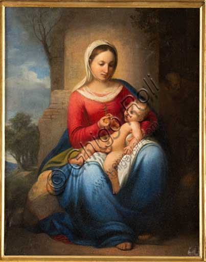 """Assicoop - Unipol Collection: Adeodato Malatesta (1806-1891), """"Madonna and Infant Jesus"""". Oil painting."""