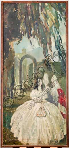 """Assicoop - Unipol Collection: Mario Vellani Marchi (1895 - 1979), """"A Lady in the Garden"""" - 1. Oil painting on canvas, 1923."""