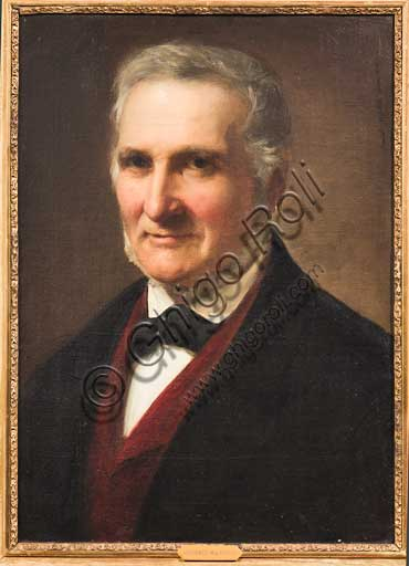 """Assicoop - Unipol Collection: Adeodato Malatesta (1806-1891), """"Portrait of a Gentleman"""". Oil painting."""