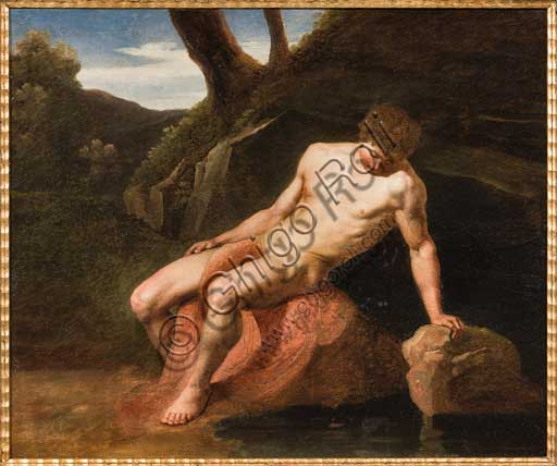 """Assicoop - Unipol Collection: Adeodato Malatesta (1806-1891), """"Narcissus"""". Oil painting."""