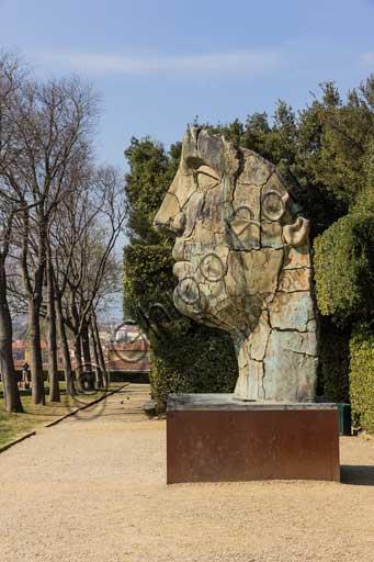 Florence, Boboli Gardens, Prato dell'Uccellare: bronze statue by the Polish artist Igor Mitoraj, installed in 2002.