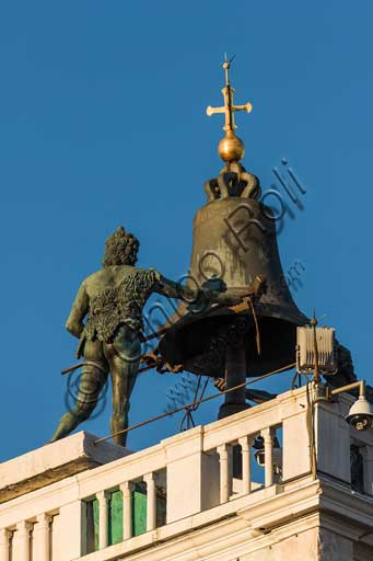 Venice, St. Mark's Square, St. Mark's clocktower: detail of the terrace with the two Moors striking the hours on a bell.
