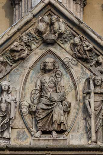 "Ferrara, the Cathedral dedicated to St. George, façade: detail of the tympanum with the ""Last Judgement""."