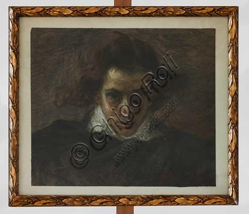 """Collezione Assicoop - Unipol,inv. n° 501: Angelo Longanesi (Ferrara 1860 - 1934); """"Ritratto di musicista"""" (pastello, 39 x 45)."""