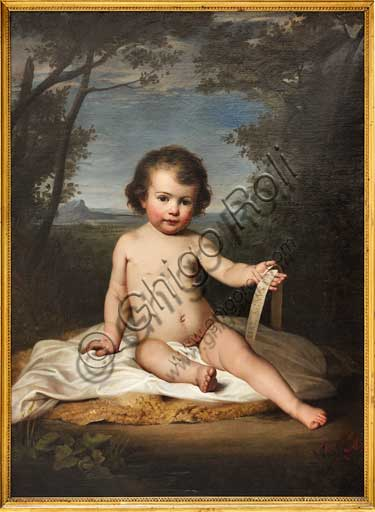 "Assicoop - Unipol Collection: Adeodato Malatesta (1806-1891), ""Infant St. John"". Oil painting."