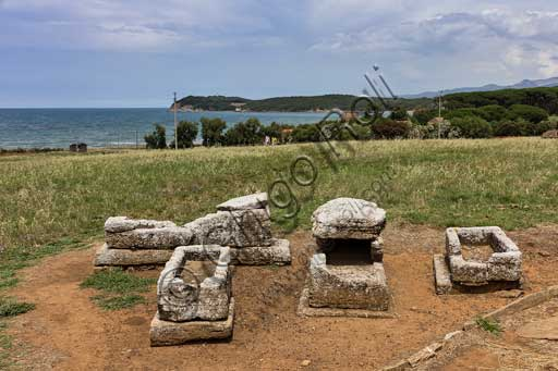 The Archaeological Park of Baratti and Populonia, the Etruscan Necropolis of St. Cerbone in Baratti:  sarcophagus tombs.