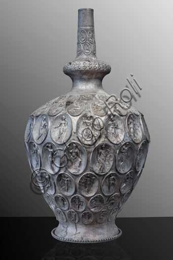 Piombino Archaelogical Museum: silver amphora from the  Baratti Harbour. It is a masterpiece of Late Antique oriental art, coming from Antioch, and is characterised by 132 oval applications with figures connected to the worship of Cybele.