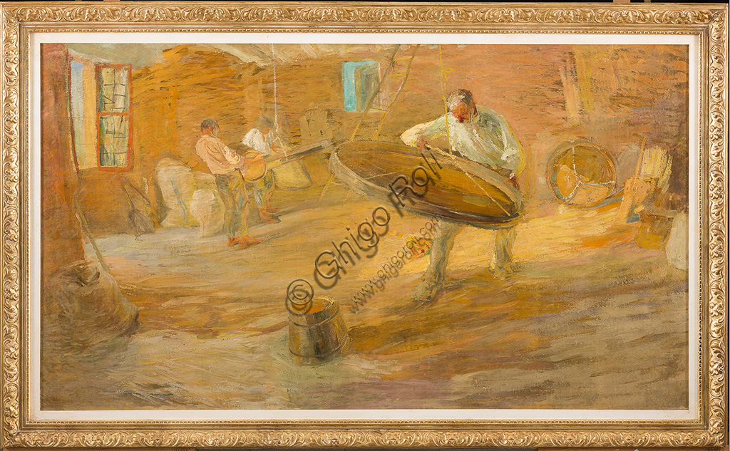 "Assicoop - Unipol Collection:Giuseppe Graziosi (1879 - 1942): ""Sieve"". Oil painting, cm 97 X 170."