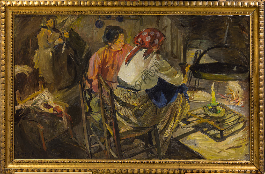 "Assicoop - Unipol Collection:Giuseppe Graziosi (1879 - 1942): ""Supper"". Oil painting, cm 91 x 150."