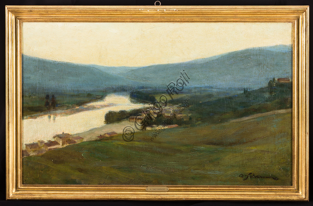 """Assicoop - Unipol Collection:Arcangelo Salvarani (1882 - 1953): """"Tuscan Landscape with River"""". Oil painting, cm 54 x 90."""