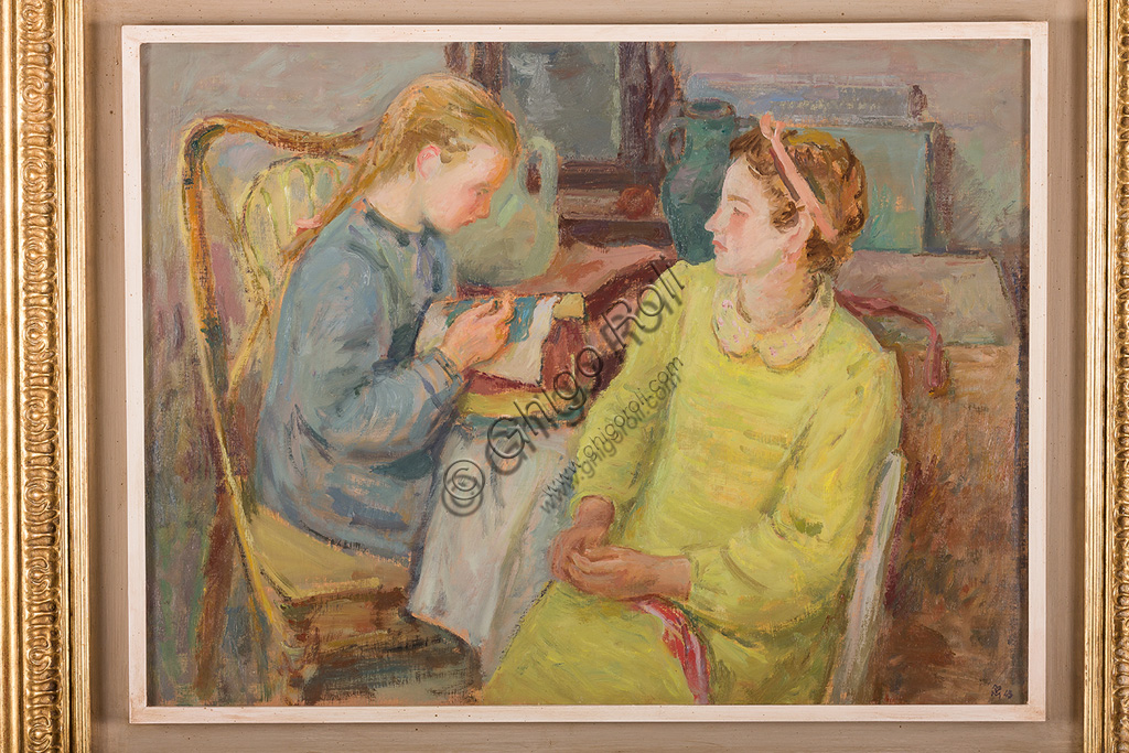 """Assicoop - Unipol Collection:Mario Vellani Marchi (1895 - 1979): """"Lacemakers"""". Oil painting, cm 61 x 81."""