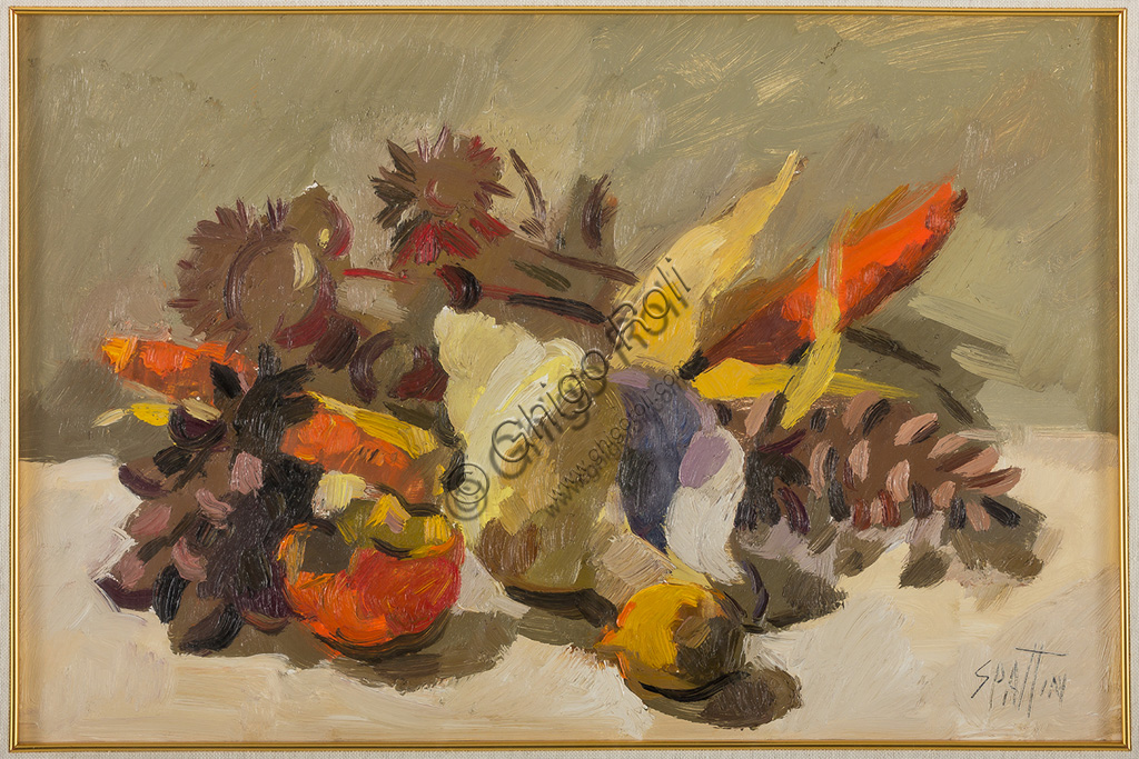 "Assicoop - Unipol Collection:Claudio Spattini (1922 - 2010): ""Still Life"". Oil painting,  cm 50 x 35."