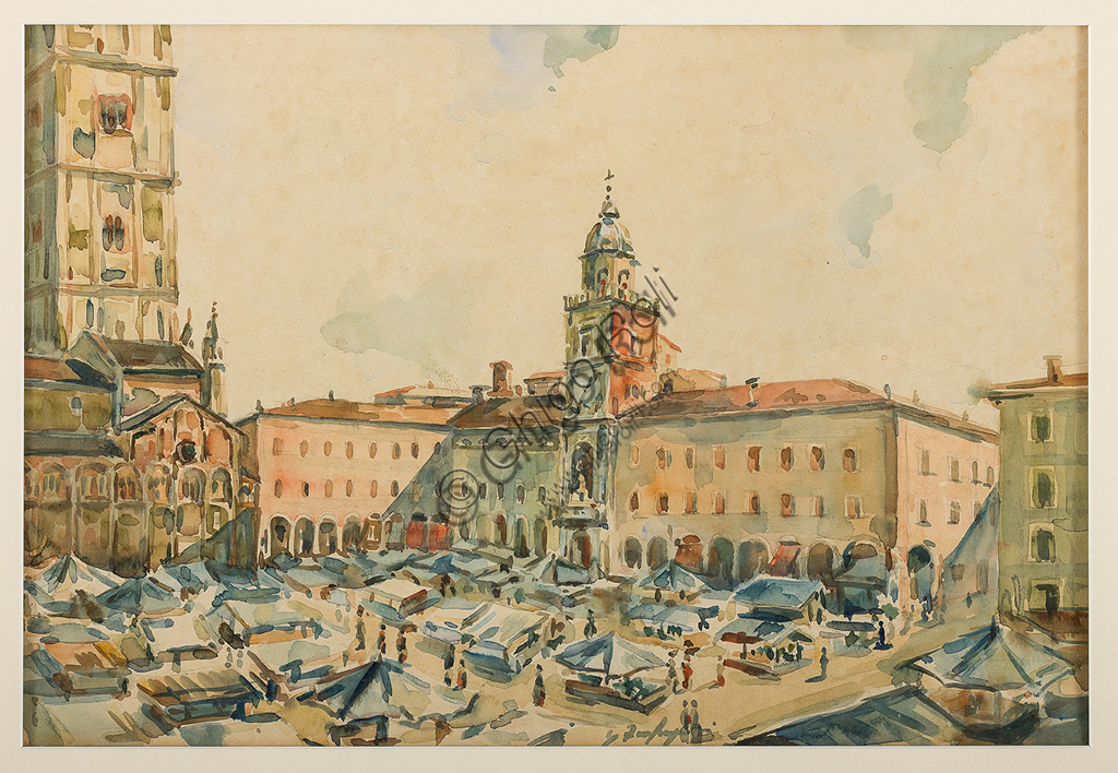 "Assicoop - Unipol Collection:Ghigo Zanfrognini: ""Piazza Grande in Modena"". Watercolour, cm 32 x 47."