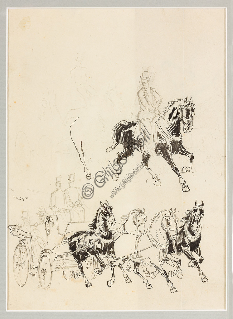 "Assicoop - Unipol Collection:Carlo Casaltoli (1865 - 1903): ""Preparatory Study for Carriage and Horses"". Indian ink and pencil drawing on paper, cm 25,5 x 17,5."
