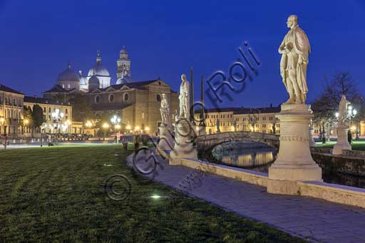 Padua: night view of Prato della Valle square. In the background, the abbey of St. Giustina.