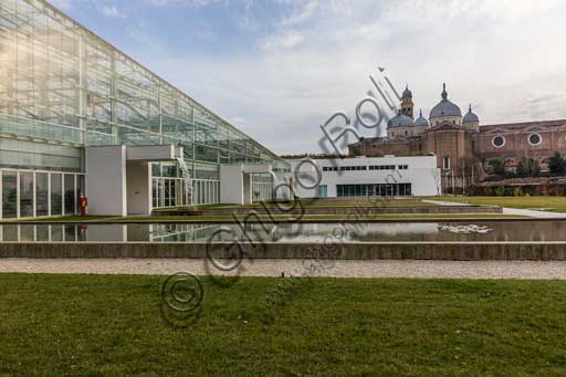 Padova, the Botanical Garden: the big greenhouse of the Garden of Biodiversity.  In the background, the Basilica of St. Giustina.