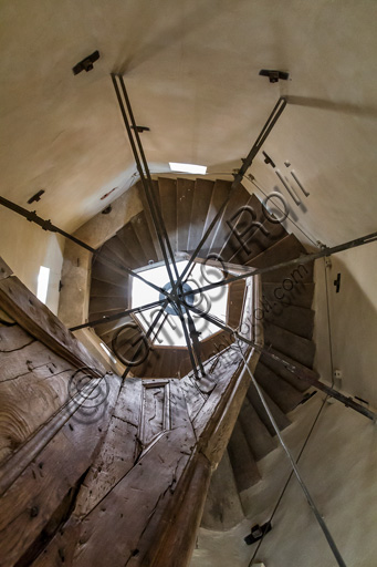 Modena, Ghirlandina Tower: the octagonal spiral staircase in the summit spire of the tower.