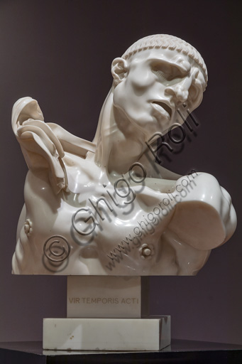 "Fontanellato, Labirinto della Masone, Franco Maria Ricci Art Collection: ""Vir temporis acti "", by Adolfo Wildt, 1913, marble sculpture."