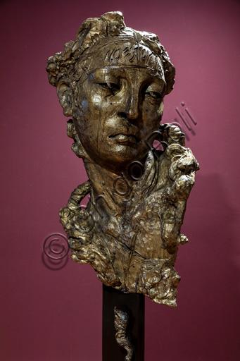 "Fontanellato, Labirinto della Masone, Franco Maria Ricci Art Collection, temporary art Exhibition, one of Javier Marìn's Sculptures: ""Cabeza de Mujer. No estoy aquì"", 2015. Bronze"