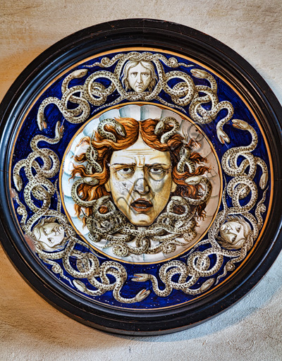 Fontanellato, Rocca Sanvitale: a ceramic plate.