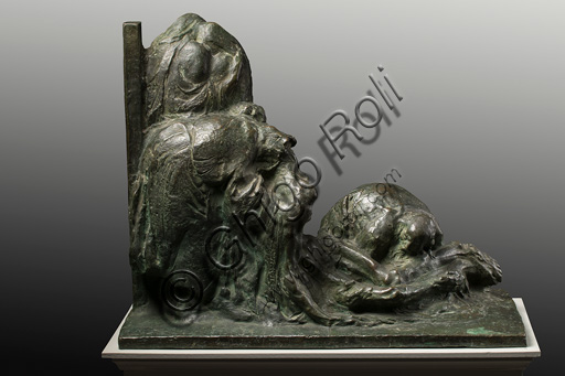 "Assicoop - Unipol Collection: Ermenegildo Luppi (1877 - 1937), ""La Pietà, i.e. Lamentation over the Dead Christ"", bronze sketch."