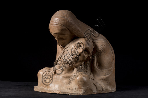 "Assicoop - Unipol Collection: Ermenegildo Luppi (1877 - 1937), ""Sketch with two heads (Christ and the Virgin Mary) for la Pietà, i.e. Lamentation over the Dead Christ"", terracotta (earthenware) sketch."