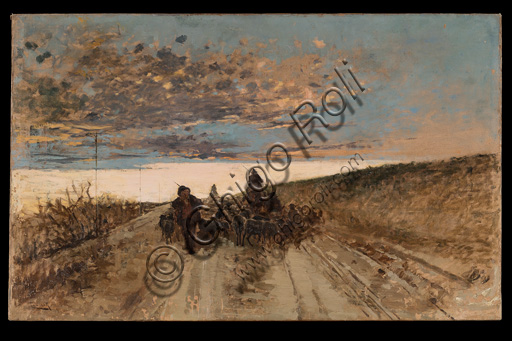 "Assicoop - Unipol Collection: Cesare Laurenti (1854 - 1936), ""Coming back to the  Sheepfold"", oil on canvas, cm 54 X 86."