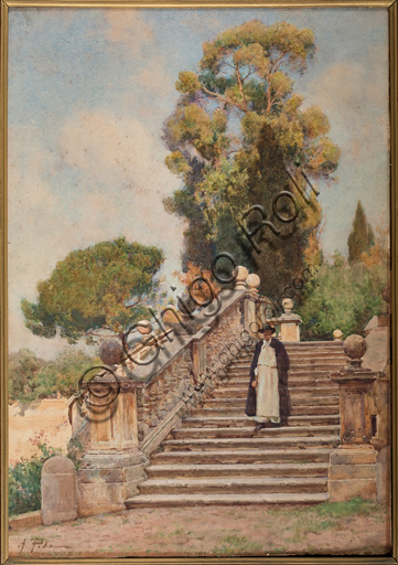 "Assicoop - Unipol Collection: Alberto Pisa (1864 - 1903), ""In the Mansion"", watercolour on cardboard, cm 53,5 X 58."